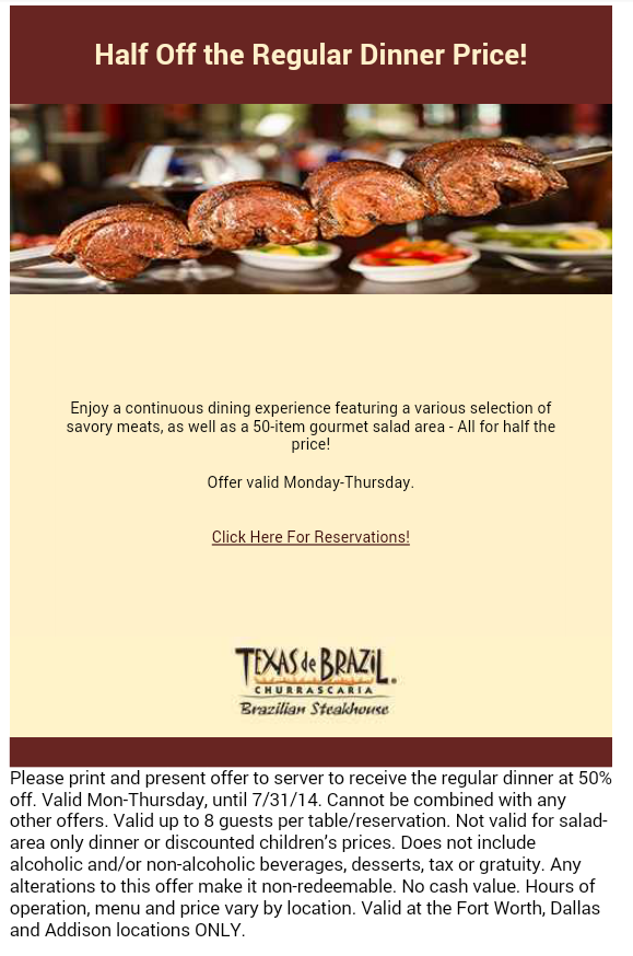 graphic about Texas De Brazil Printable Coupon named 50% off of your supper at Texas de Brazil with this coupon